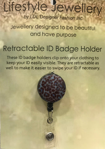 Retractable ID Holder-Blue Leopard