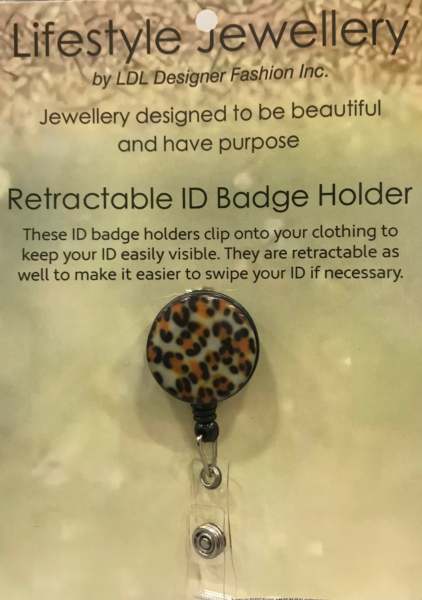 Retractable ID Holder-Leopard Print