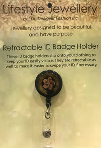 Retractable ID Holder-Brown Flower Shell