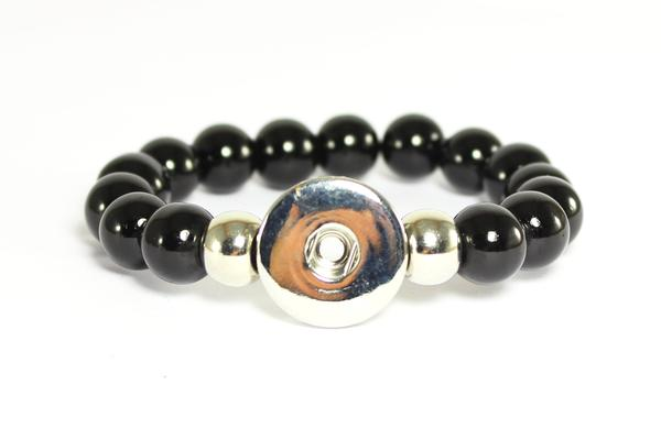 SPARKLE SNAP BRACELET-Black Obsidian Stretch