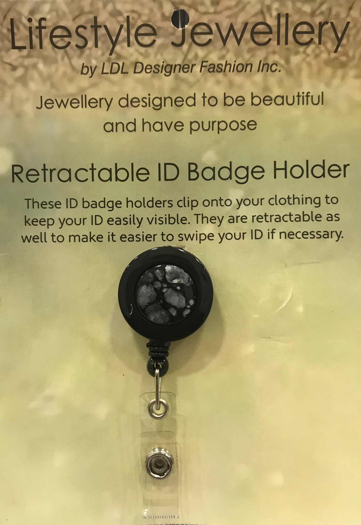 Retractable ID Holder-Black Shell