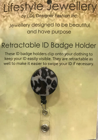 Retractable ID Holder-Black Leopard