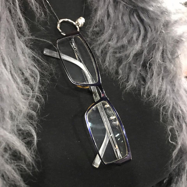 Gypsy Spirit Necklace and Eyeglass Holder-Black Lavastone and Hematite