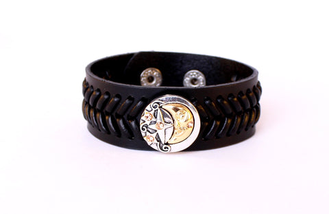 Black Leather Moon and Star Sparkle Snap Bracelet