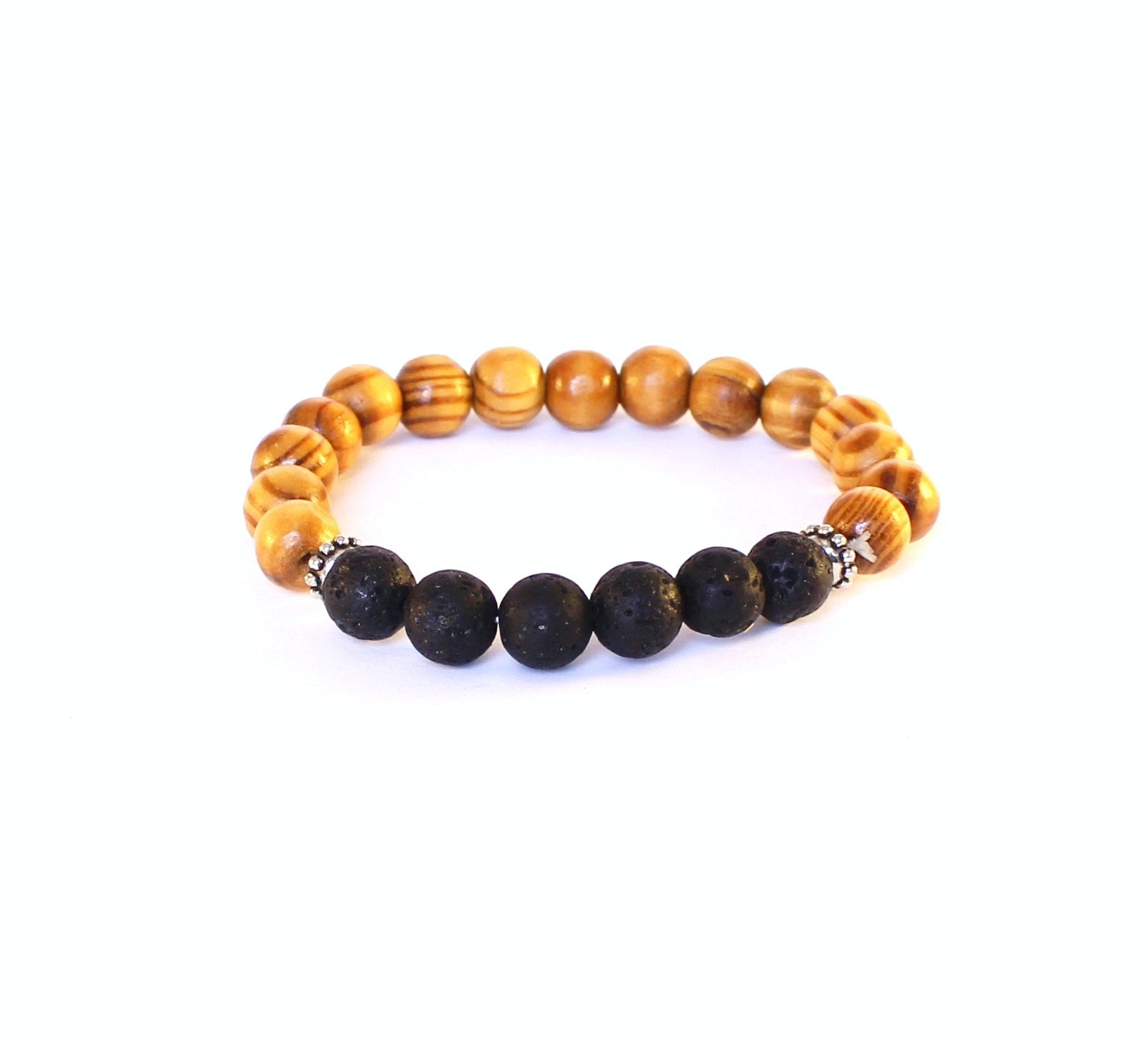 Black Lava and Wood Bracelet