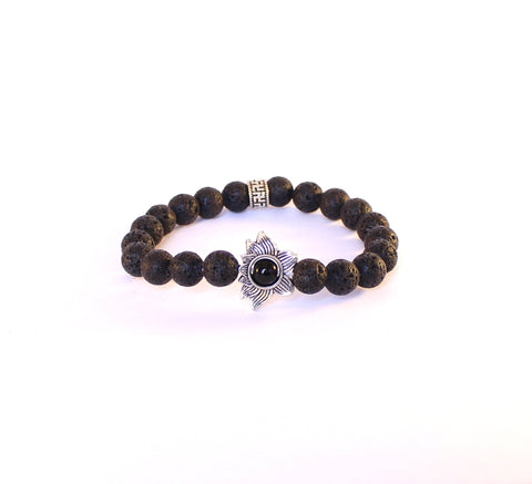 Black Lava Lotus Flower Bracelet