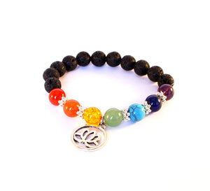 Genuine Gemstone Chakra Black Lava Lotus Flower Bracelet