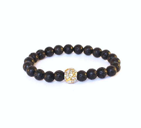 Black Lava Golden Sparkle Bracelet