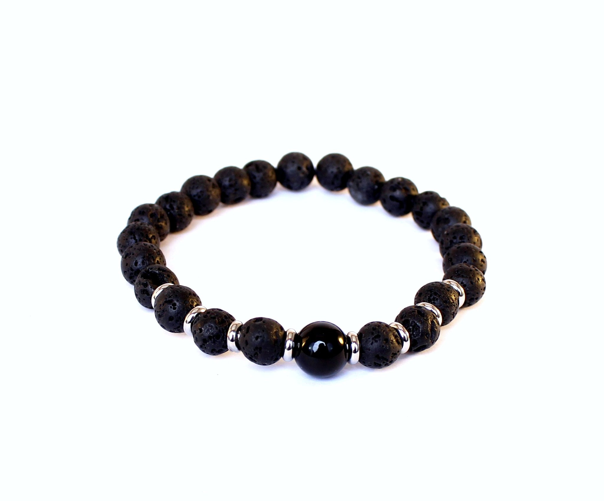 Black Lava and Black Obsidian Bracelet-Unisex