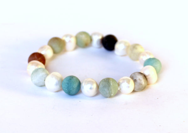 Freshwater Pearl and Genuine Amazonite Bracelet