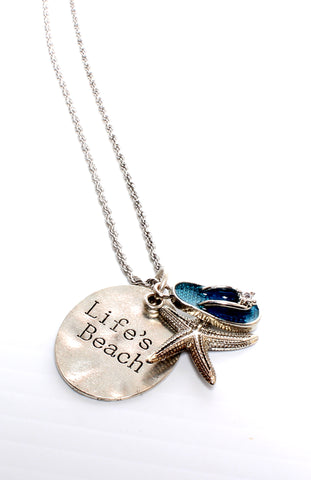 LIFE'S A BEACH-Charm Necklace
