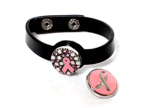 SPARKLE SNAP BRACELET SET-Pink Ribbon Sparkle