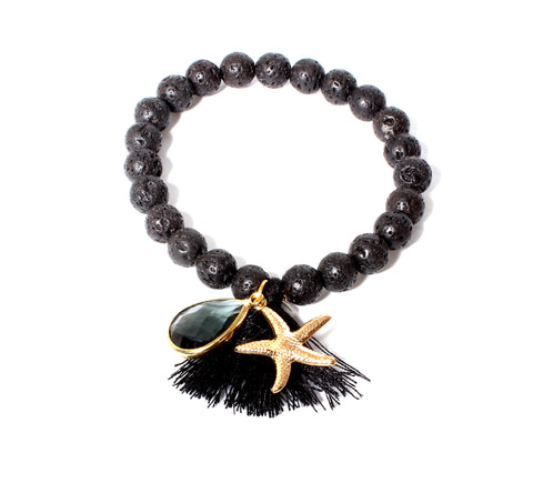 Black Lavastone Gold Starfish and Tassel