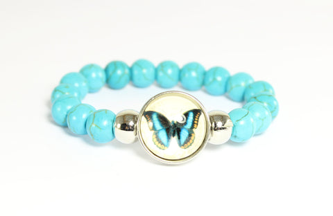 Sparkle Snap Turquoise Stretch Bracelet