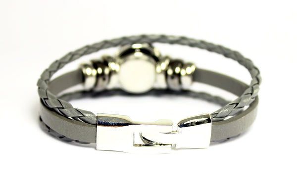 Sparkle Snap-Gray Leather and Hematite Bracelet