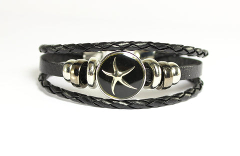 Sparkle Snap- Black Leather and Hematite Bracelet