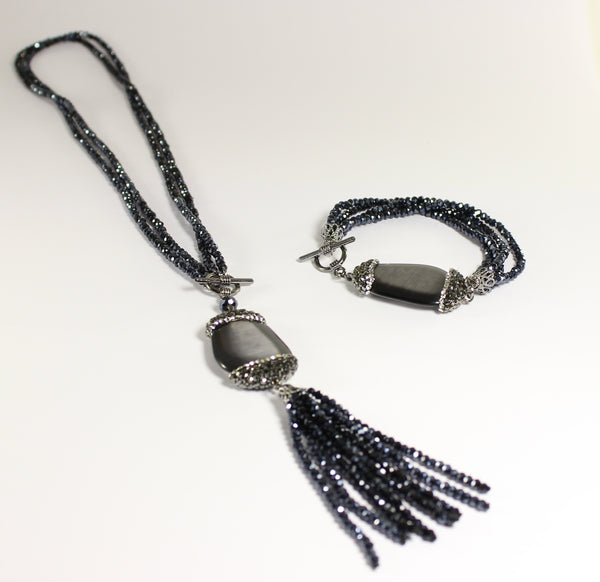 Glitzy Black Necklace and Bracelet Set