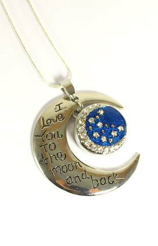 Sparkle Snap Love You To The Moon Pendant and Necklace Set