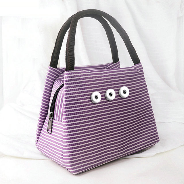 SPARKLE SNAP MINI TOTE HANDBAG-Purple Stripe