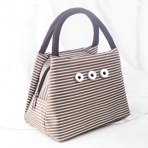 SPARKLE SNAP MINI TOTE HANDBAG-Brown Stripe