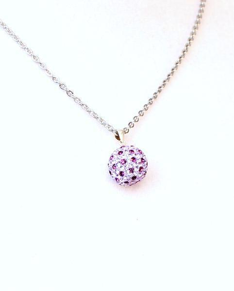 Amethyst Dream Glitter Ball Necklace