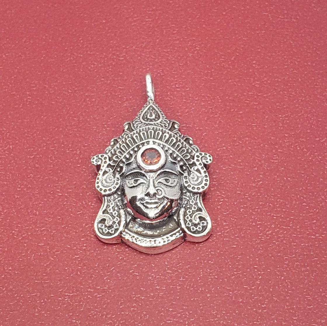 Goddess Durga Pendant with Garnet