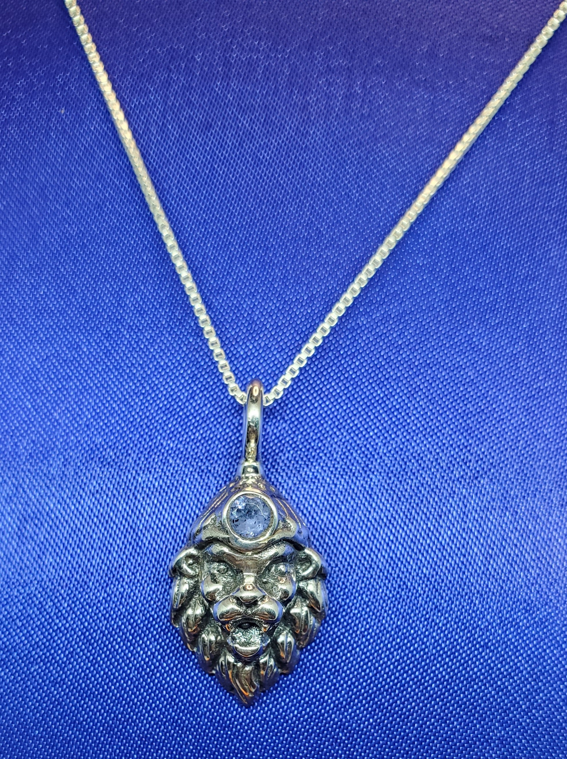 Lord Narasimha Pendant with Blue Lolite