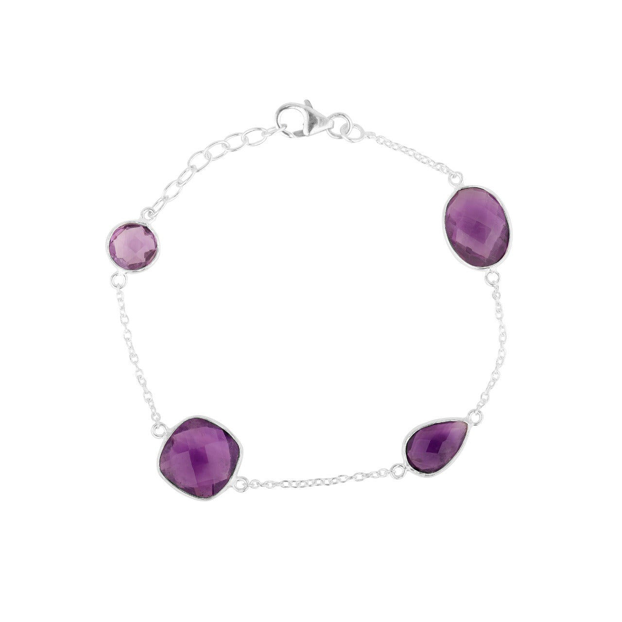 Purple Amethyst Bracelet with different stone sizes