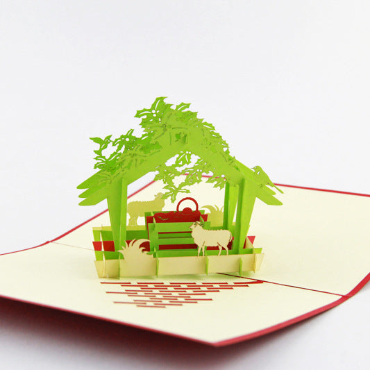 (Buy A Set of 9 Free Shipping) 3D Christmas Greeting Card
