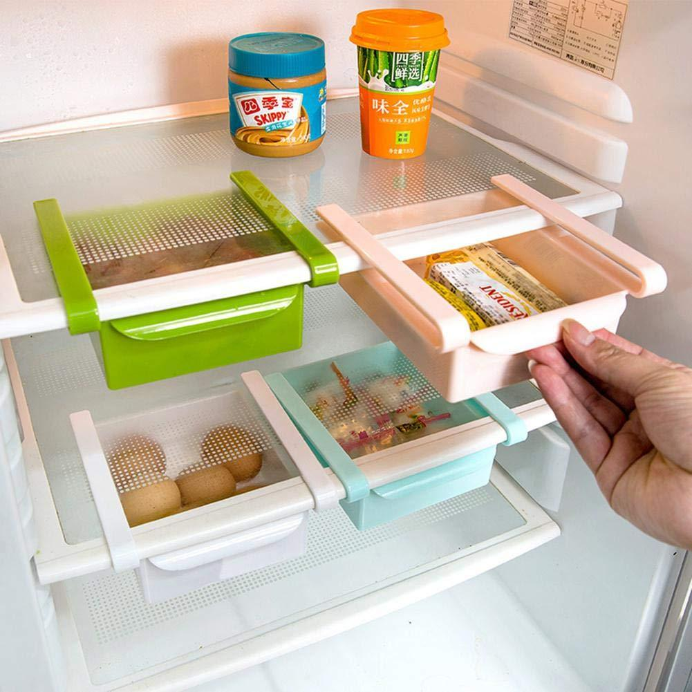 FOONEE Refrigerator Storage Box,Food Storage Containers Spacer Layer Storage Rack Pull-Out Drawer Freezer for Kitchen Fruits/Vegetables/Meat/Fish