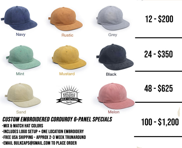 f3f4253bf3c We put together some amazing packages on these Corduroy Flop caps including  embroidery. Choose from the 8 colorways available. Price includes one  location ...