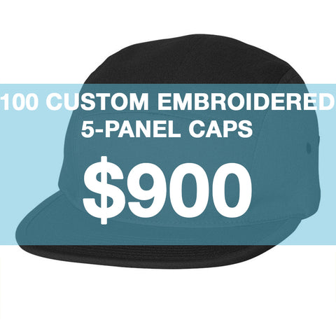 100 Custom Embroidered 5-Panels