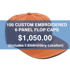 100 CUSTOM EMBROIDERED 6-PANEL FLOP CAPS