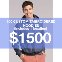 100 Custom Embroidered Hoodies