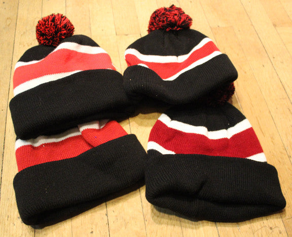 Wholesale lot of 4 Black/ Red Throwback beanies