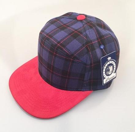 Purple Plaid/ Red 6-Panel Hybrid Snapback