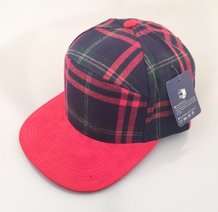 Mixed Green Plaid/ Red 6-Panel Hybrid Snapback