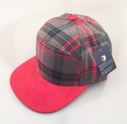 Grey Plaid/ Red 6-Panel Hybrid Snapback