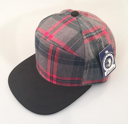 Grey Plaid/ Black 6-Panel Hybrid Snapback