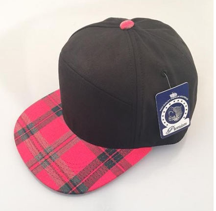 Black/ Red Plaid 6-Panel Hybrid Snapback