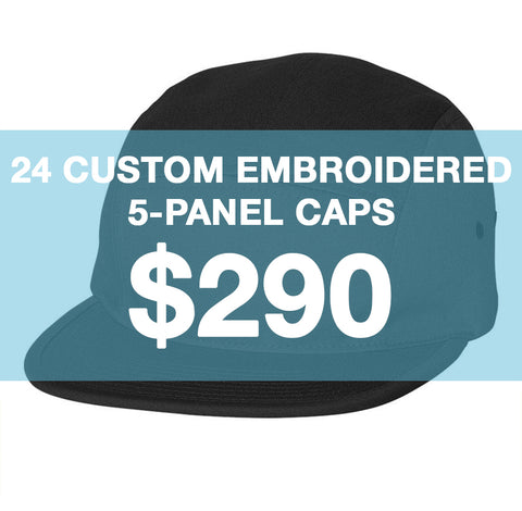 24 Custom Embroidered 5-Panels
