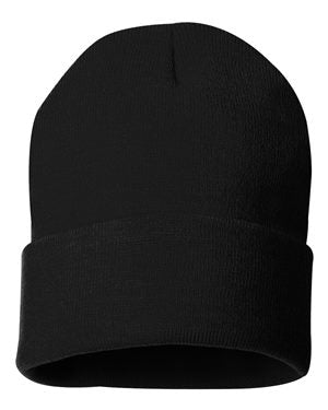 "Solid 12"" Knit Beanie - Black"