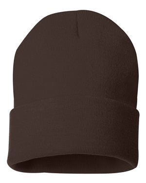"Solid 12"" Knit Beanie - Brown"