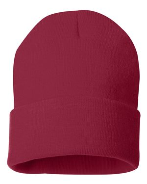 "Solid 12"" Knit Beanie - Cardinal Red"