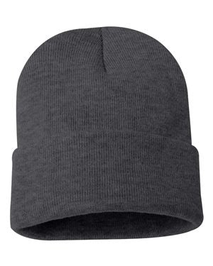 "Solid 12"" Knit Beanie - Charcoal Grey"