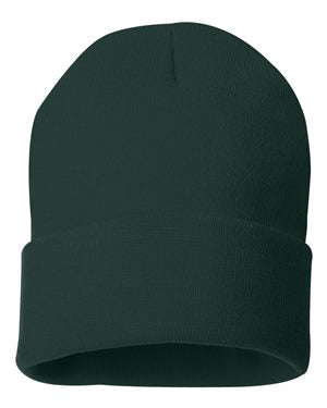 "Solid 12"" Knit Beanie - Forrest Green"