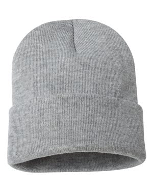 "Solid 12"" Knit Beanie - Heather Grey"