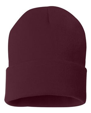 "Solid 12"" Knit Beanie - Maroon"