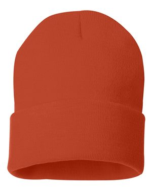"Solid 12"" Knit Beanie - Rich Orange"
