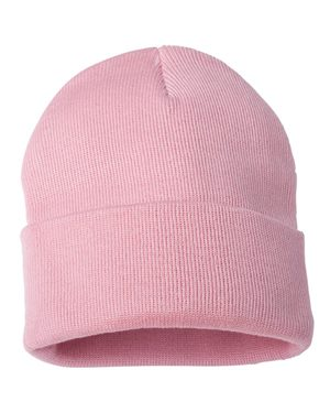 "Solid 12"" Knit Beanie - Pink"